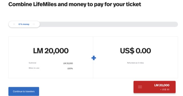 lifemiles point and cash