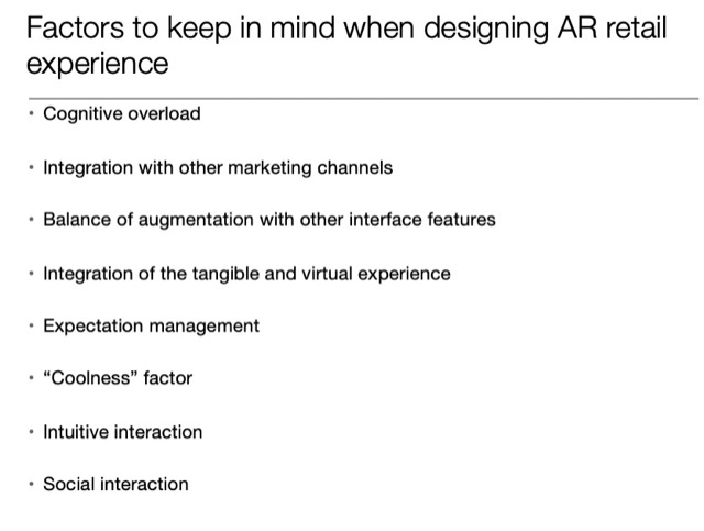 keep in mind designing AR retail experience