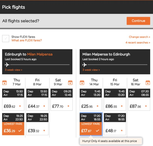 easyjet flight choose