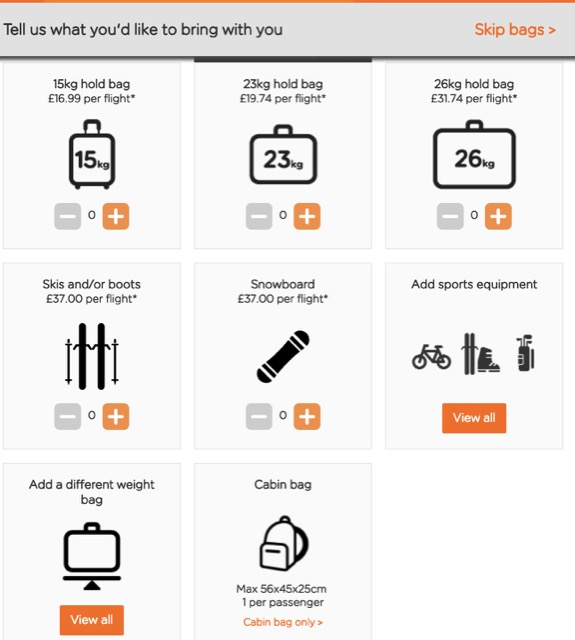 easyjet bags choices