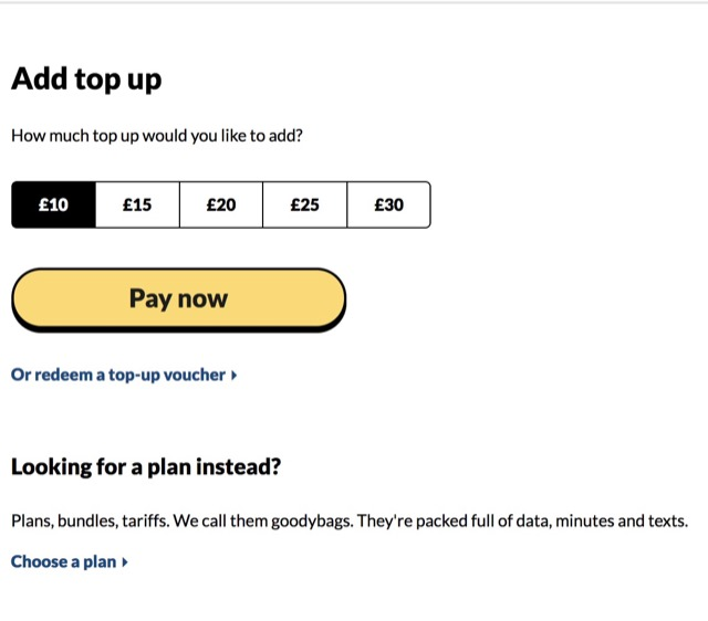 giffgaff popup choices
