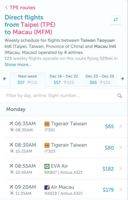 direct flight website price list