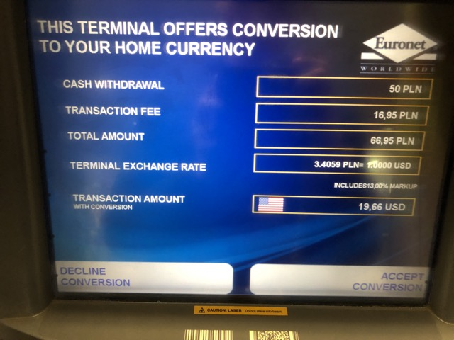 euronet atm conversion rate
