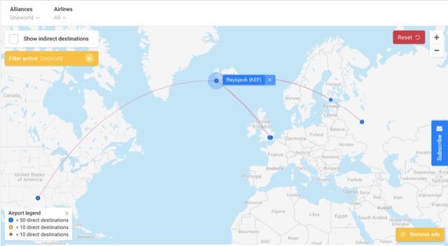 flight connection kef route