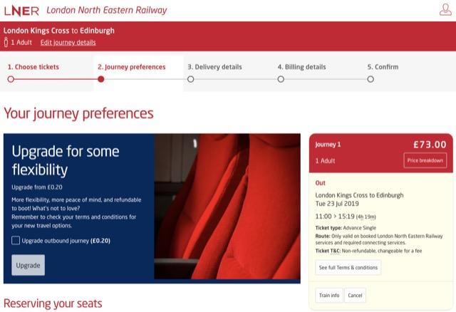 LNER journey preference