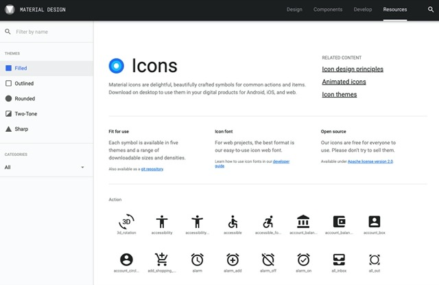 material-icon list