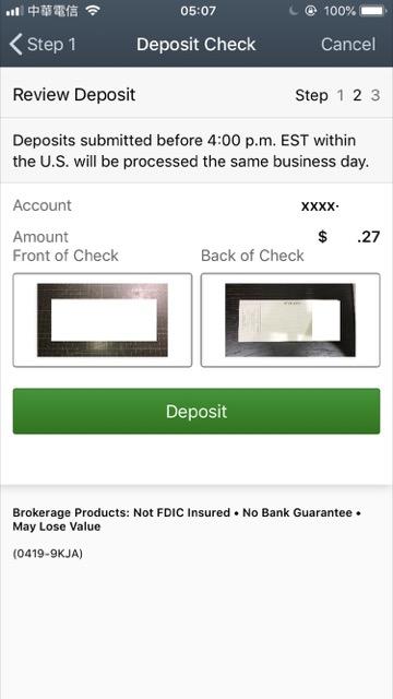charles schwab mobile deposit check status