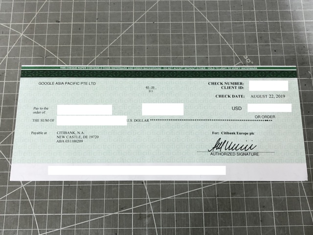 google adsense cheque front