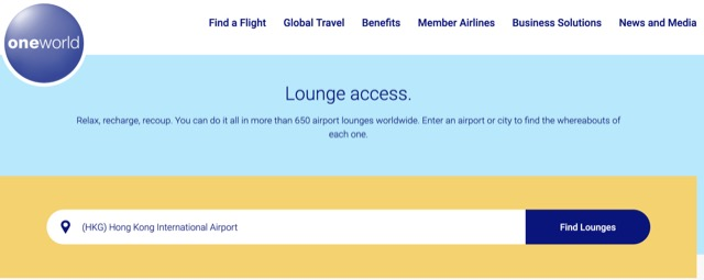 alliance oneworld lounge search example