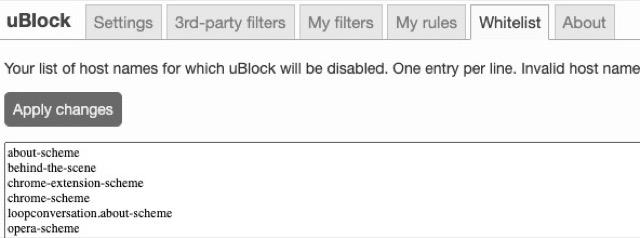 ublock settings