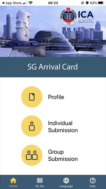 SG Arrival Card index