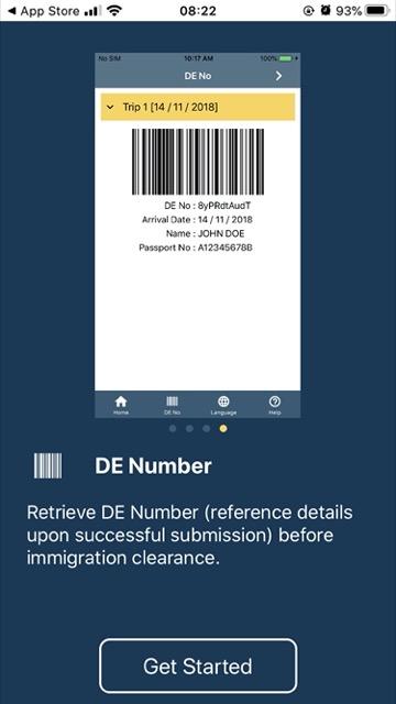 SG Arrival Card de number