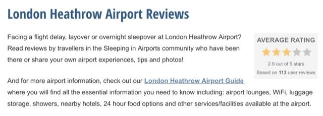 sleeping at airport reviews