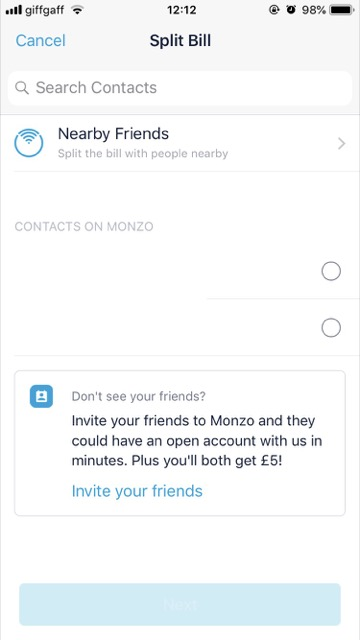 monzo friends function