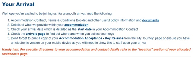 accommodation arrival guide