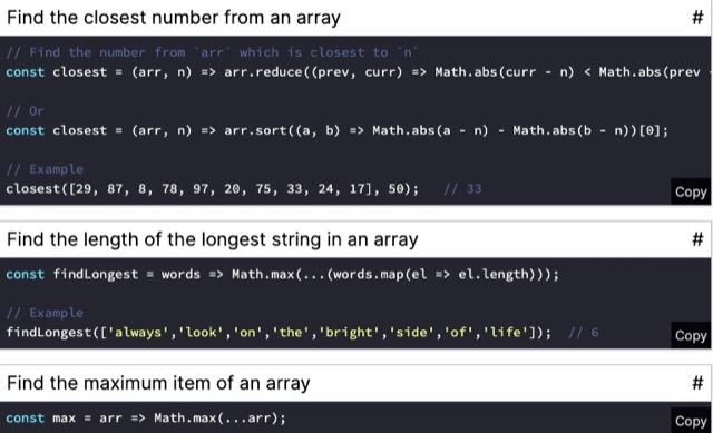 javascript oneline demo