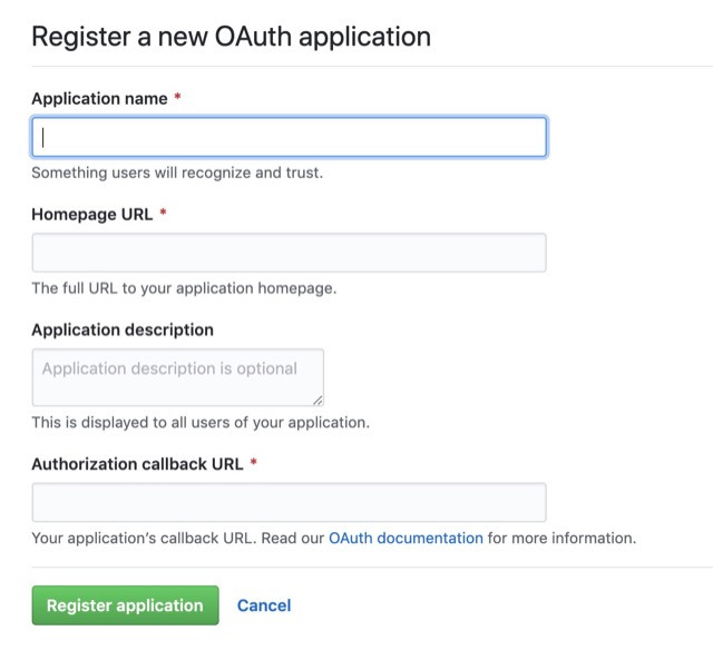 github oauth setting apply