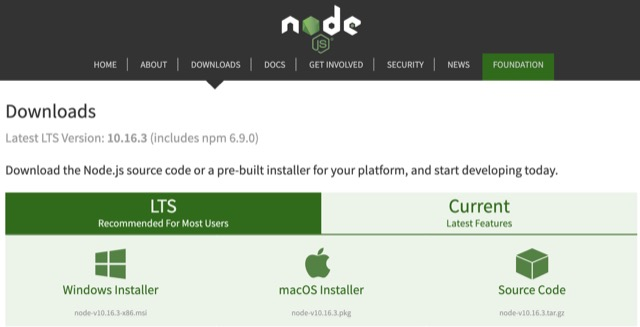 nodejs windows