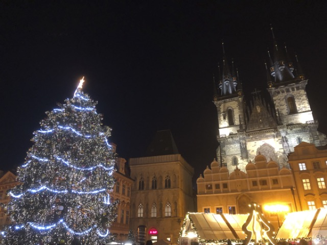 Prague oldtown square night