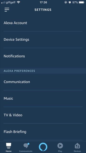 alexa app setting