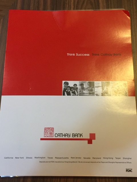 cathay bank folder