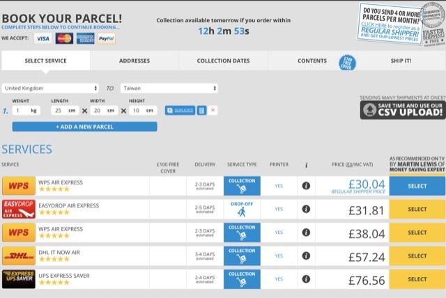 choose parcel service